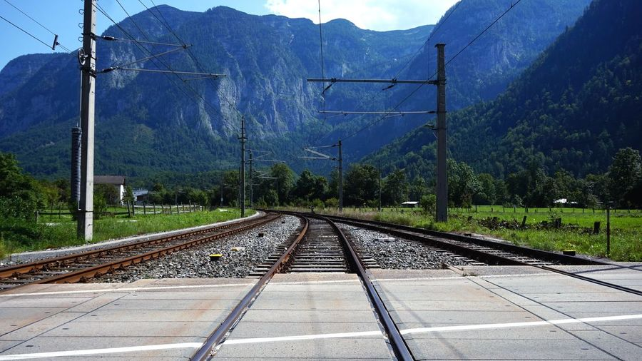 Diminishing perspective of railroad tracks against mountains