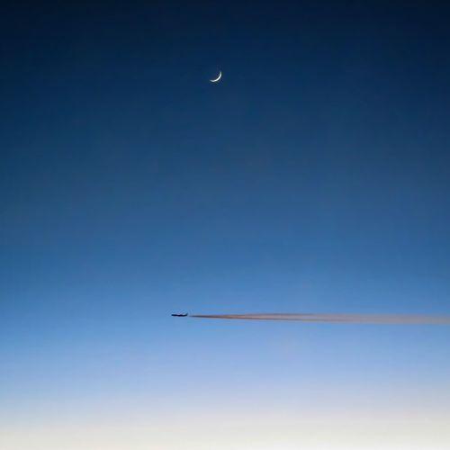 Vapor Trail Airshow Airplane Flying Aerospace Industry Aerobatics Clear Sky Moon