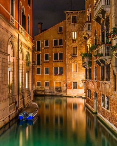 Long Exposure Nightphotography Night Photography Night Urban Night Lights Travel Destinations Travel City Venice Reflections Reflection Longexposure Italy Lowlight Lowlightphotography Long Exposure Gondola - Traditional Boat Water Nautical Vessel City Reflection Cityscape Architecture Building Exterior Built Structure Boat Canal Moored