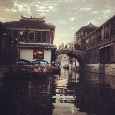 China Zhouzhaung Watercity Bridges Bridge BoatRide Sunset Sky Lantern Travel Travelingram Travelogue Travelgram instalike instago instadaily instacool instagood