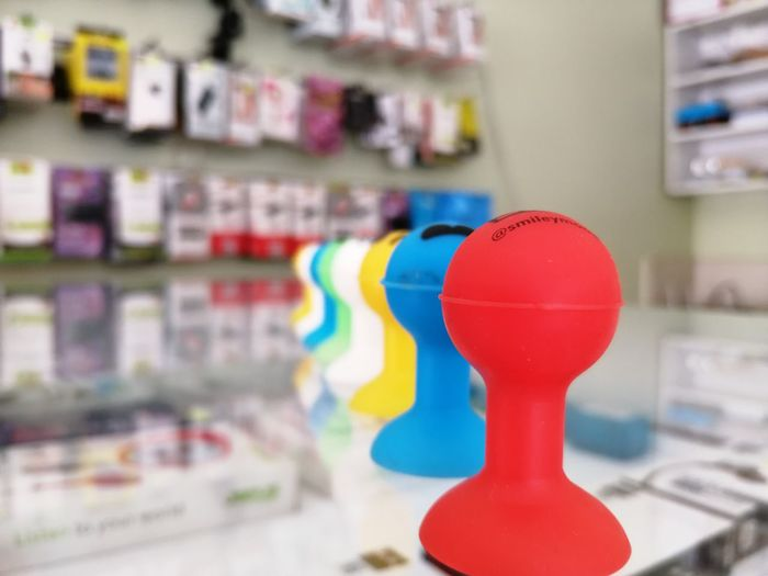 Close-up of multi colored toy on table at store
