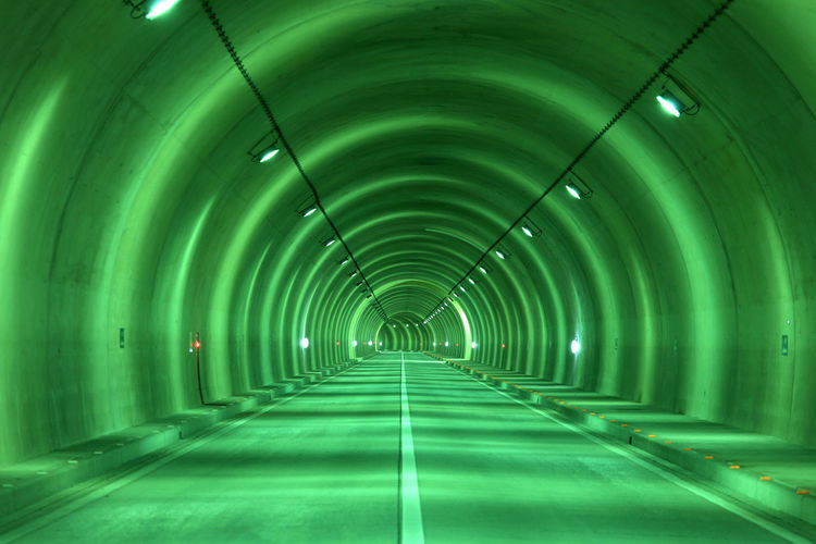 tunnel in japan Arch Architecture Built Structure Ceiling Diminishing Perspective Direction Empty Footpath Green Color Illuminated Indoors  Light Light At The End Of The Tunnel Lighting Equipment Long No People Pattern Road The Way Forward Transportation Tunnel Turquoise Colored vanishing point