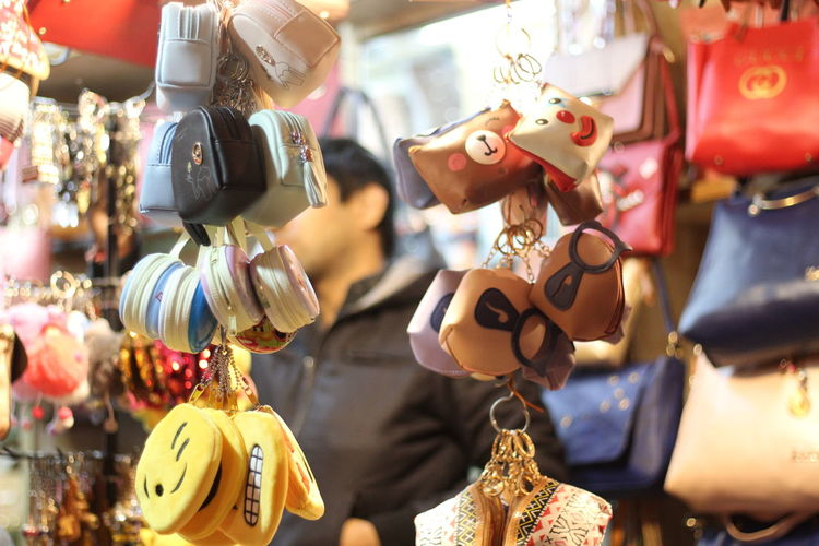 Various key rings for sale in store