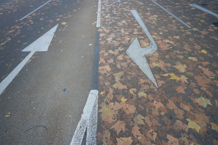 High angle view of arrow symbols on road