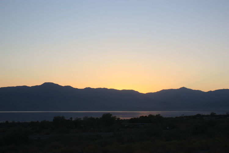 Salton Sea Salton Sea East Salton Sea At Sunset Clear Sky Landscape Mountain Mountain Range Nature No People Outdoors Scenics Silhouette Sunset Tranquil Scene Water
