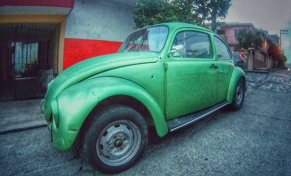 Green beetle volkswagen Transportation Car Land Vehicle Mode Of Transport Retro Styled Street Day No People Outdoors Architecture Xalapa Mexico Green Color Mexico EyeEmNewHere Old-fashioned Colors Volkswagen Bettle