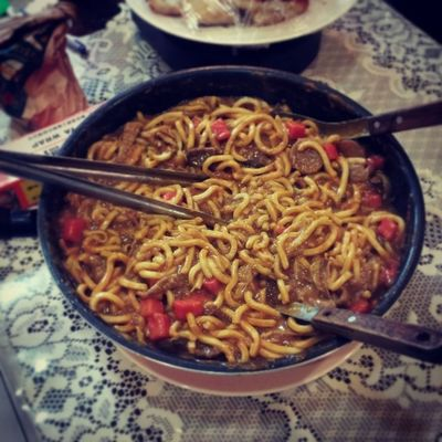 """""""Giant size"""" beef curry udon"""