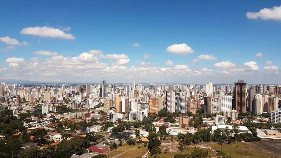 Bom dia Curitiba Cwb Curitiba Curitiba, Brazil Brazil Brasil EyeEm Selects Cityscape City Urban Skyline Skyscraper High Angle View Sky Architecture Cloud - Sky Panoramic