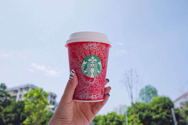 Doodle My Drawing Starbucks Red Cup Zentangle Blue Sky Sky Lover Nail Art