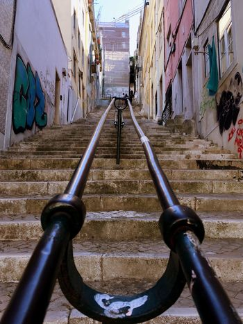 Alley of stairs Steps Steps And Staircases Stairs Lisboa Lisboa Portugal Building Exterior Narrow Crooked Wallart Street Urban City Staircase Architecture Built Structure Handlebar The Way Forward Houses Alley Symmetry Leading Lines No People Day Outdoors Colour Your Horizn