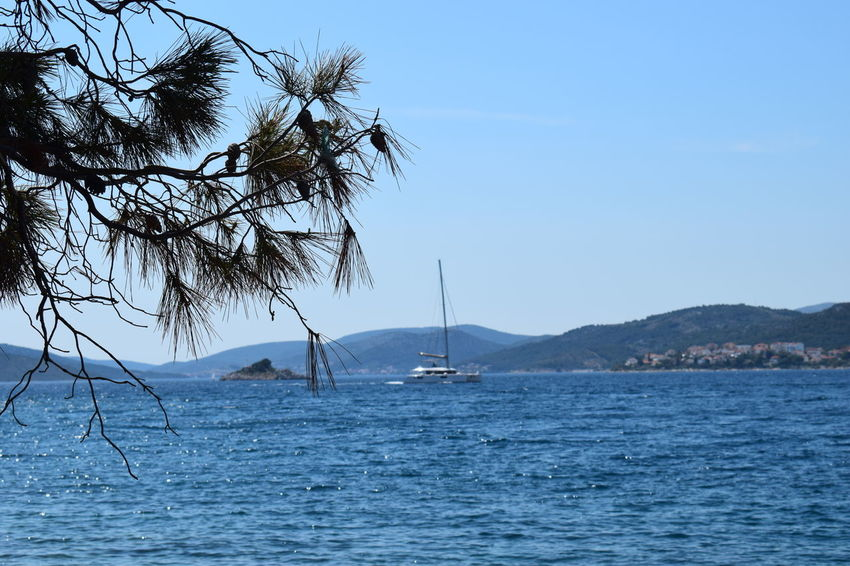 Beauty In Nature Blue Clear Sky Croatia Day EyeEm Nature Lover EyeEmNewHere Mountain Nature Nature Nature_collection Naturelovers Nautical Vessel No People Outdoors Sailboat Sailing Scenics Sea Sky Tranquil Scene Tranquility Tree Water Waterfront