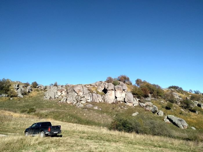 Mountain Hills Road Stone Boulders Toyota Toyota Hilux Clear Sky Desert Blue Sunny Land Vehicle Sky Landscape 4x4 Off-road Vehicle
