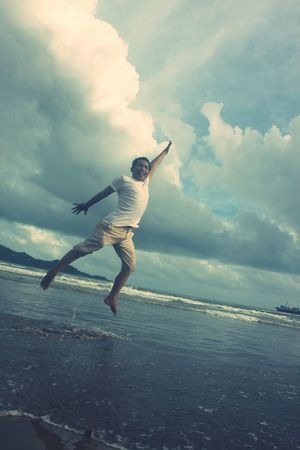 Cloud - Sky Jumping Freedom Sky One Person Mid-air Confidence  Excitement Beach Carefree Getting Away From It All Outdoors Live For The Story