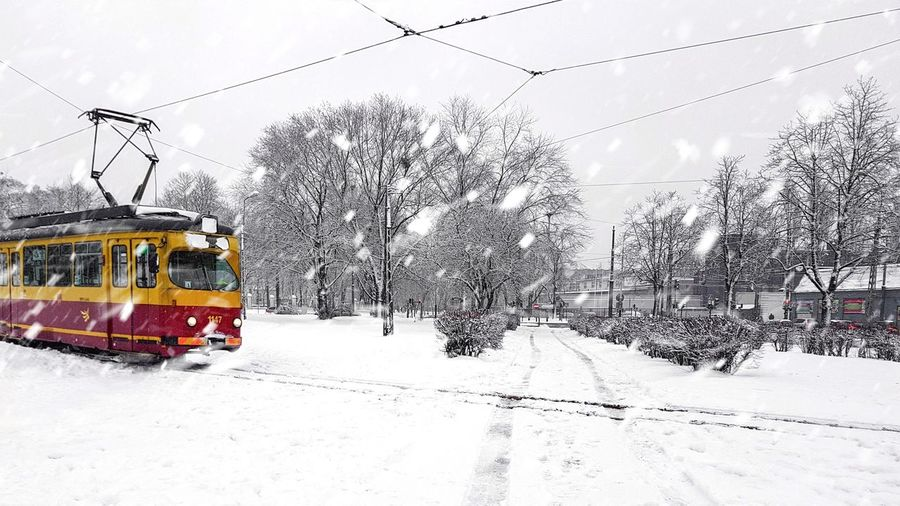 Zasypane City Transportation Snow Mode Of Transport Cold Temperature Winter Power Line  Train - Vehicle Outdoors Railroad Track Public Transportation Day Land Vehicle Snowing Sky No People
