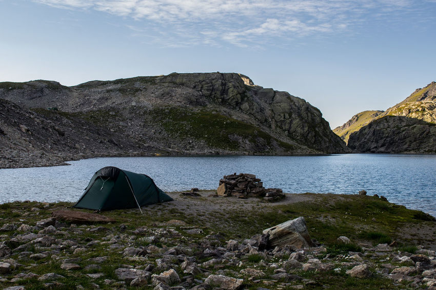 Alps Beauty In Nature Camping Day Glacierlake Idyllic Lake Majestic Mountain Mountain Range No People Outdoors Rocky Sunset Tent Tranquil Scene Tranquility Water