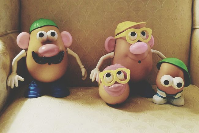 Millennial Pink Freshness Fade Found Objects Family Portrait Have A Great Day Everyone!✨✨ Children Playing Mr. Potato Head Toys Anthropomorphic Face Postcard Close-up Illuminated Toy Just For Fun Ears Eyes Nose Mouth Arms Mustache Shoes Hats Glasses👌 Sitting On A Chair