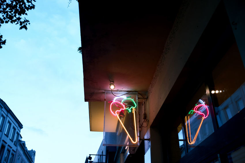 No People Low Angle View Built Structure Architecture Illuminated Sky Building Exterior Lighting Equipment Building City Multi Colored Nature Outdoors Decoration Architectural Column Glowing Day Shape Creativity Ceiling Ice Cream