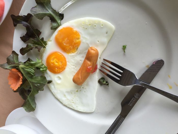Close-Up Of Breakfast In Plate