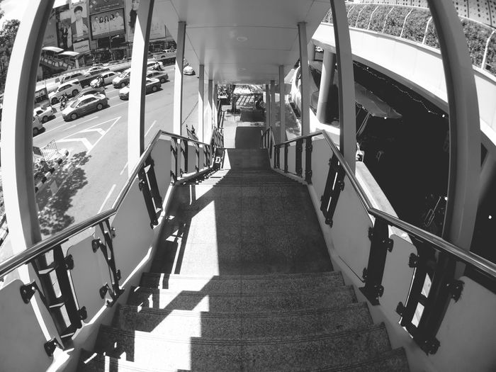 View of staircase in bus