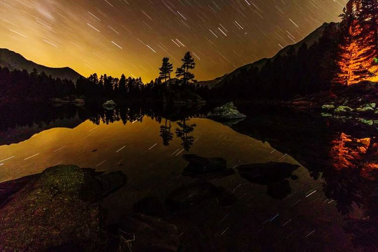 Night Landscape Lake Space Igniting Astronomy Nature Travel Star - Space Space And Astronomy Arrival Mountain Planet - Space Tree Constellation Natural Parkland Water Switzerland Saoseolake Igswitzerland Beauty In Nature Outdoors Sky