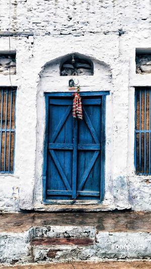 Closed door of window