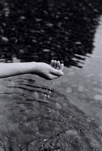 Close-up of wet hand in water