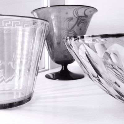 Glass items in the artist's home.