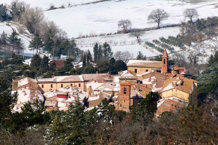 Paciano viewed from Monte Pausillo Italian Hilltop Town Italian Town Monte Pausillo Paciano Paciano In Snow Umbria, Italy Umbrian Landscape Beauty In Nature Built Structure Cold Temperature High Angle View Italian Village  Landscape Landscape In Winter Rooftops Snow Snowy Day Snowy Landscape Town Winter