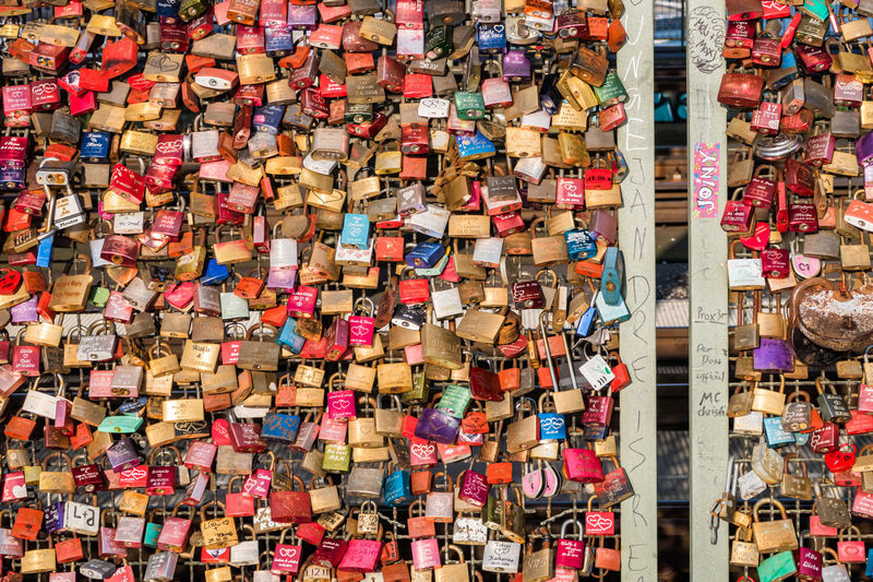 Full frame shot of locks on fence