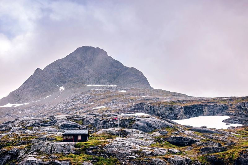 Cabin on the mountain Norway Beautiful_norway Norge Trollstigen Nature EyeEm Selects Landscape Mountain Snow Cold Temperature Winter Sky Mountain Range Close-up Countryside Tranquil Scene Scenics Remote Idyllic Non-urban Scene Tranquility