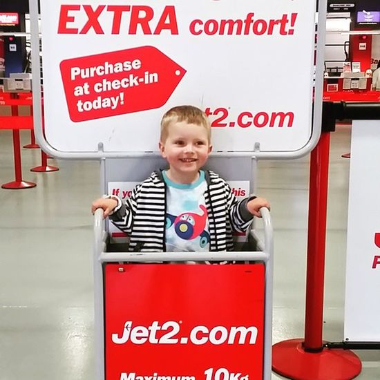 I suppose he can come with us then. Child Toddler  Happy Smile Airport Jet2 @jet2pics