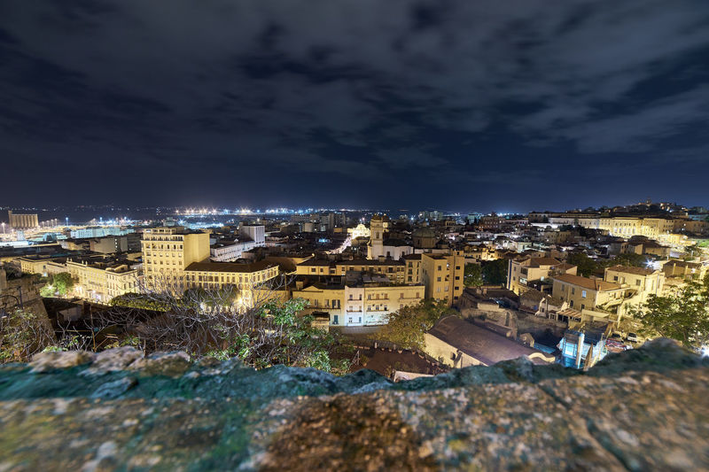 Cagliari, Sardinia Cityscape Nightphotography Panorama Panoramic Architecture Building Building Exterior Built Structure City Cityscape Cloud - Sky High Angle View House Illuminated Nature No People Outdoors Residential District Sky Sunlight Tilt-shift Town TOWNSCAPE 17.62°
