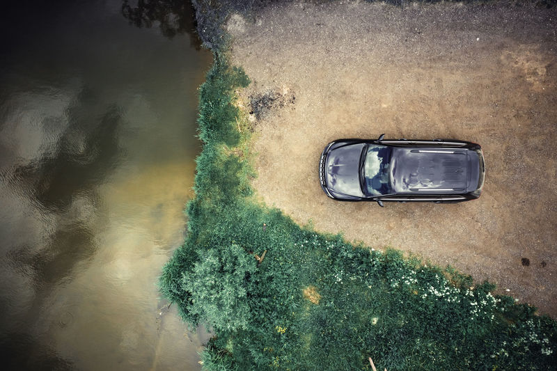 High angle view of car on water