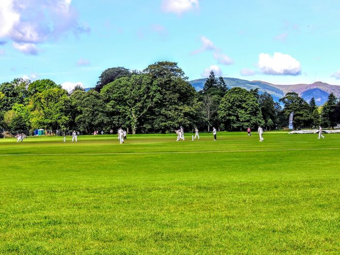 Plant Grass Tree Green Color Sky Group Of People Nature Large Group Of People Crowd Sport Land Real People Day Cloud - Sky Men Field Leisure Activity Outdoors Beauty In Nature Cricket Field