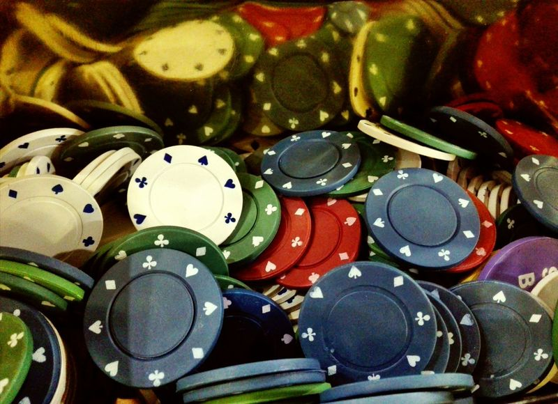 Poker Night Poker Chips Play Game Macro Detail Multi Colored Indoors  Close-up Vibrant Color Colorful No People