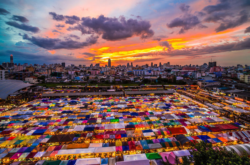 Sunset Multi Colored City Urban Skyline Business Finance And Industry Sky Cloud - Sky