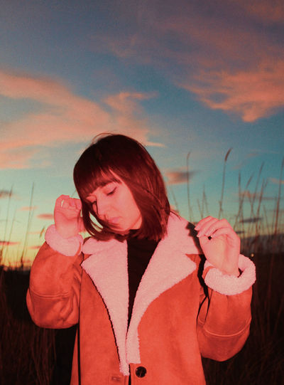 Young Women Women Red Standing Portrait Sunset Waist Up Sky