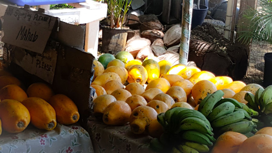 Tropical Fruit Bananas Mangos Guava  Green Yellows Fruit Stand Fruit Stand Hawaiian Island Life Fresh Produce Farmers Market Healthy Lifestyle Healthy Living