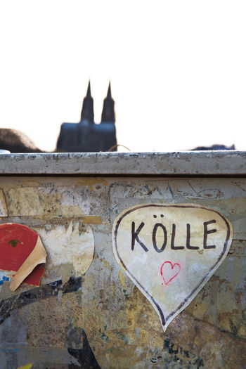 Cologne , Köln,  Architecture Building Exterior Built Structure Clear Sky Close-up Cologne Cathedral Communication Copy Space Day Declaration Of Love Dialect Heart ❤ History Message No People Old Outdoors Religion Sign Sky Text Urban Wall Western Script