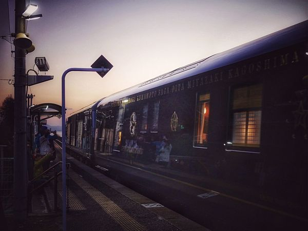Somewhere in Kyushu Area, Discover Kyushu, Japan CRUISE TRAIN / SEVEN STARS IN KYUSHU (NANATSU-BOSHI) ななつ星 Retro Style Luxury Train December 12. Pass to Chiwata eki Seaside Station every Saturday 17:30 Omura Line JR Kyushu ( Kyushu Railway Company ) On The Platform One Shot Story Project. Just One Shot Japan Scenery Nagasaki Panasonic LUMIX GX1+L-X025 50mm F1.8 . Design & Story TRAIN designed 水戸岡鋭治 Eiji Mitooka+Don Design Associates Galactic train de Good Night