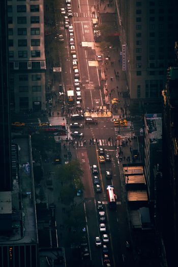 Aerial view of traffic on city street during