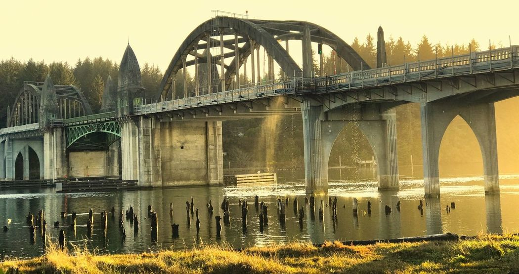 Siuslaw River Bridge sunset, Florence, Oregon Oregon Coast Destination Oregon Siuslaw River Bridge Siuslaw River Golden Hour Sunset_collection Sunset Bridge - Man Made Structure Bridge Connection Built Structure Architecture Water Travel Destinations Arch Bridge Building Exterior Arch Sky Outdoors River Nature Travel Transportation Engineering City Capture Tomorrow
