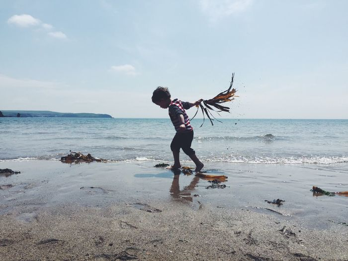 A young boy plays with seaweed on the beach Sea Beach Water Shore Horizon Over Water Leisure Activity Full Length Lifestyles Sand Vacations Tranquil Scene Scenics Sky Wave Nature Tranquility Tourism Beauty In Nature Tourist Casual Clothing Toddler Boy play Seaside Seaweed IPhone