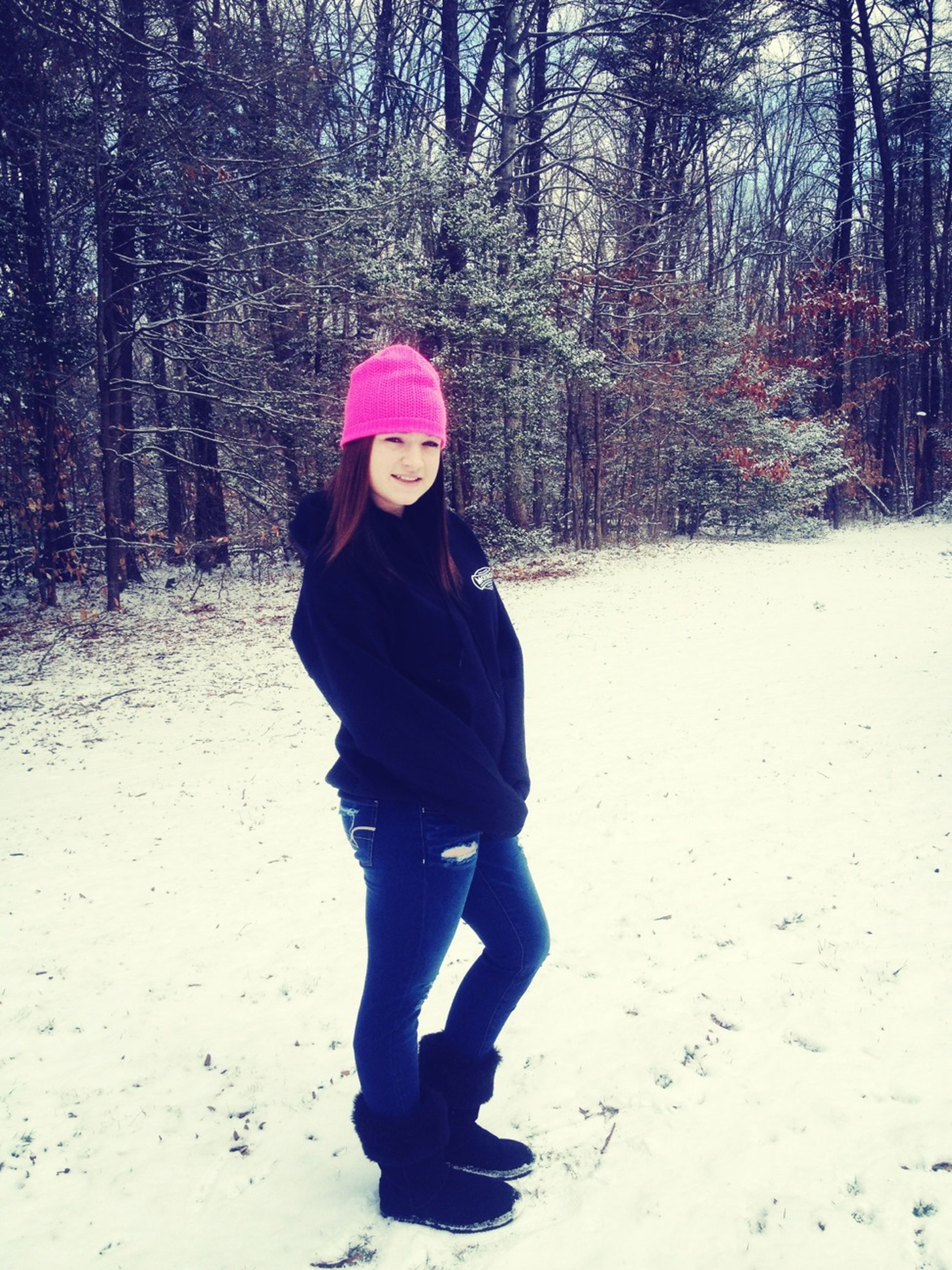 full length, lifestyles, leisure activity, warm clothing, casual clothing, tree, winter, rear view, season, person, walking, standing, cold temperature, snow, forest, childhood, front view, jacket