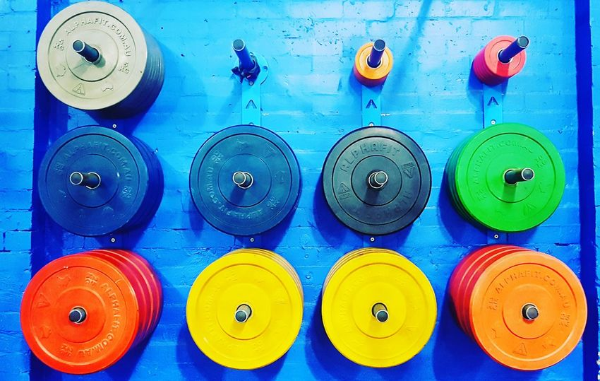 Weights Weight Training  Colour Blue Background No People Beactive Multi Colored Indoors