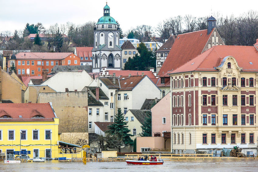 Meissen in Saxony the porcelaine town, Elbe River hig water Desaster Natural, Desaster Struck DLRG Boat Helping Architecture Building Exterior Built Structure City Day High Water Level Nature Outdoors Residential Building Sky Tree Water Waterfront