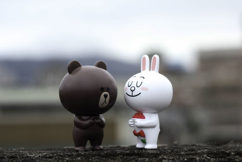 Brown and Cony Cony And Brown Figure Happiness LINE Linefriends Love Loving No People Outdoors Smiling Social Toys