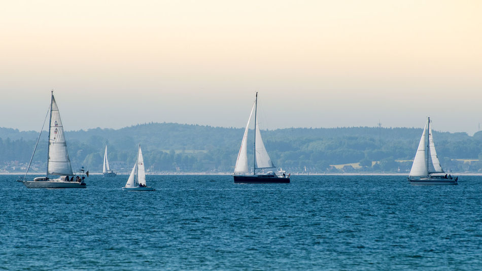 Sailing Boats against sky Beauty In Nature Clear Sky Crew Day Horizon Over Water Mast Mode Of Transport Nature Nautical Vessel No People Outdoors Regatta Sailboat Sailing Sailing Ship Scenics Sea Ship Sky Sunset Transportation Water Yacht Yachting