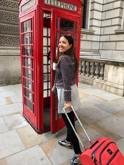London Telephone Box Tourist Traveling Beautiful Woman Connection Full Length Lifestyles One Person One Woman Only One Young Woman Only Only Women Outdoors Pay Phone Portrait Red Smiling Suitcase Telephone Booth Tourism Women Young Adult Young Women