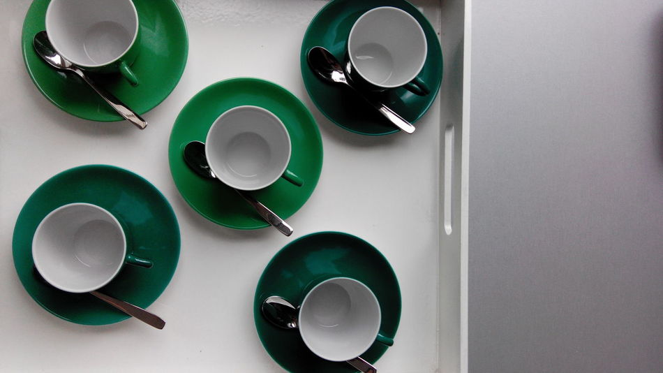 Directly Above High Angle View Green Color Overhead View Arrangement Tea Collection Large Group Of Objects Cup Cups Cup Of Coffee Cup Of Tea Empty Empty Cup Green Cup Coffee
